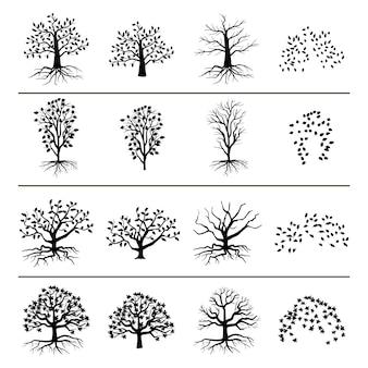 Árvores com raízes, folhagens e folhas caídas, isoladas no fundo branco. silhueta de árvore e ilustração monocromática de folhas