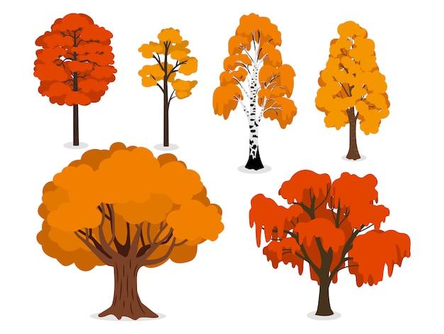 Árvores da floresta amarela, laranja e vermelha isoladas no branco