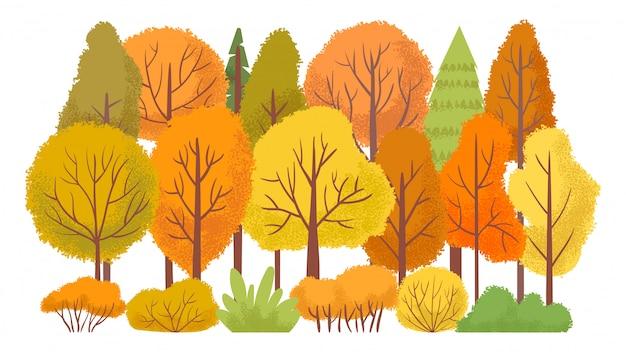 Árvores da floresta de outono. jardim outonal, ilustração abstrata dos desenhos animados de árvore amarela
