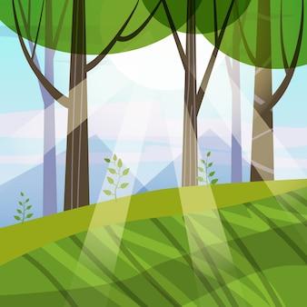 Árvores da floresta linda primavera, folhagem verde, paisagem, arbustos, silhuetas de troncos, horizonte