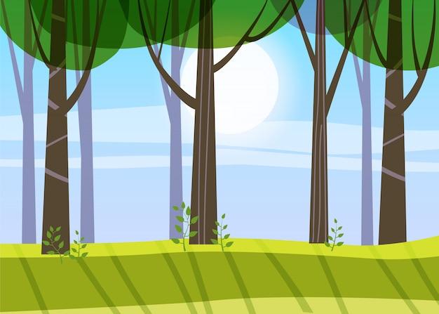 Árvores da floresta linda primavera, folhagem verde, paisagem, arbustos, silhuetas de troncos