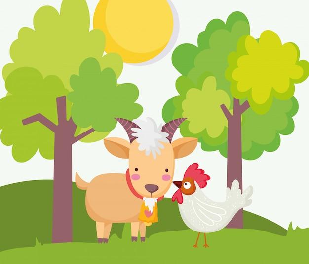 Árvores de cabra e galo sol grama fazenda animais cartoon ilustração