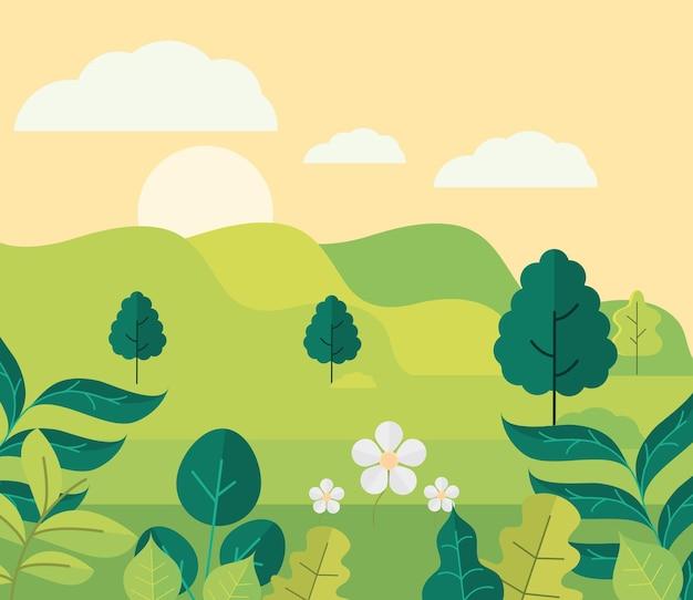 Árvores de colinas verdes