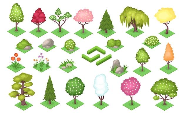 Árvores de desenho animado e cerca de arbusto, pedras e grama no verão ou na primavera.