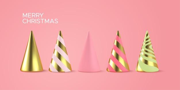 Árvores de natal abstratas com formas geométricas de cones