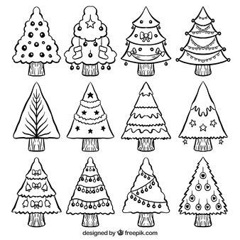 Árvores de natal ajustada com mão desenhada bugigangas