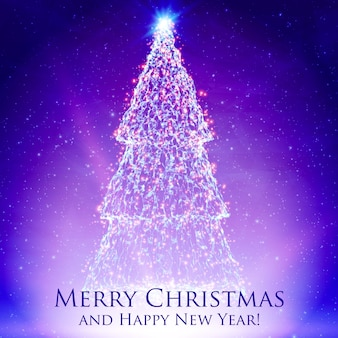 Árvores de natal brilhantes sobre fundo violeta colorido com luz de fundo e partículas brilhantes. fundo abstrato do vetor. árvore de abeto brilhante. fundo brilhante elegante para você projetar.