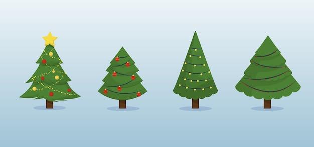 Árvores de natal . coleção de árvores de natal com decoração de guirlanda de férias. abeto de inverno perene sparcle.