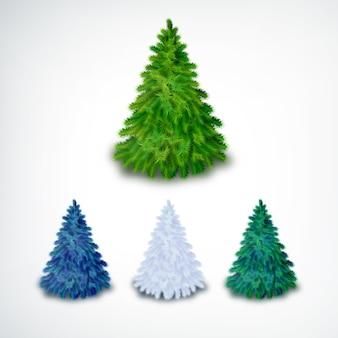 Árvores de natal coníferas realistas com cores diferentes em branco