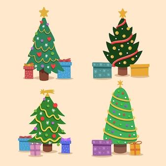 Árvores de natal decoradas desenhadas à mão