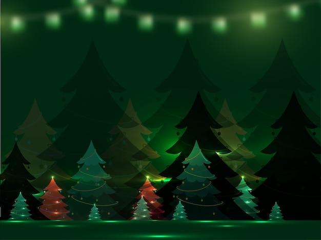Árvores de natal decorativas com efeito de luzes sobre fundo verde.