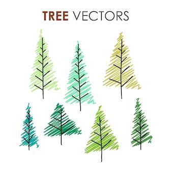 Árvores de natal desenhadas à mão em vários estilos de ilustração