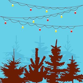 Árvores de natal e guirlandas