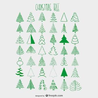 Árvores de natal esboça coleção