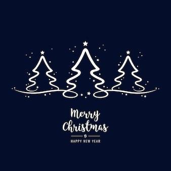 árvores de natal, lettering saudações fundo azul