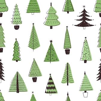 Árvores de natal mão desenhada padrão sem emenda. textura de estilo doodle de pinheiros perenes