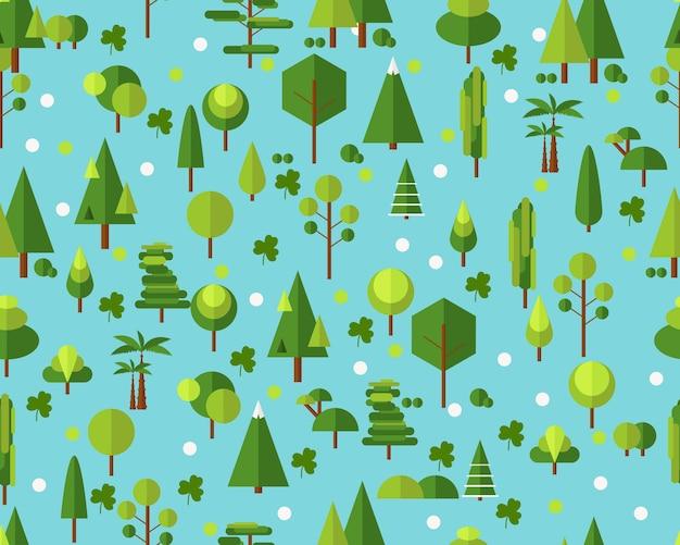 Árvores de padrão de textura plana sem costura vector.