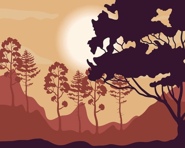 Árvores de plantas em ilustração de cena de paisagem por do sol da floresta