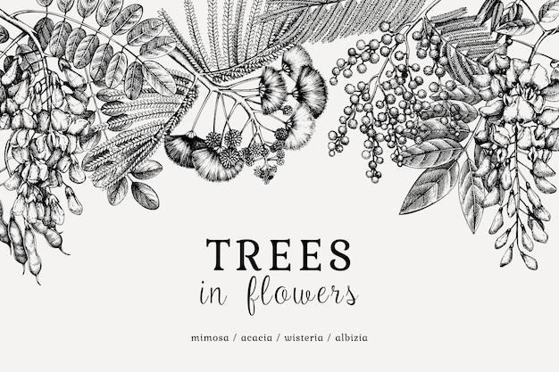 Árvores desenhadas à mão em flores.