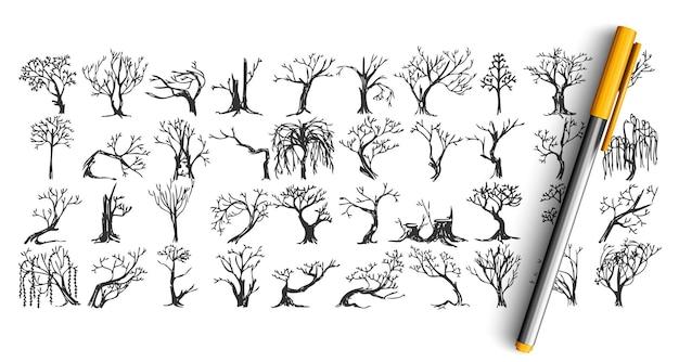 Árvores doodle conjunto. coleção de esboço desenhado de mão de tinta de caneta. plantas florestais congeladas sem folhas.