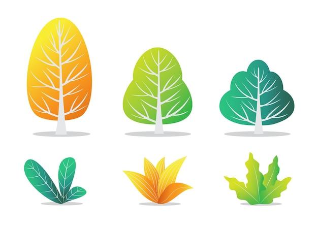 Árvores e arbustos de outono