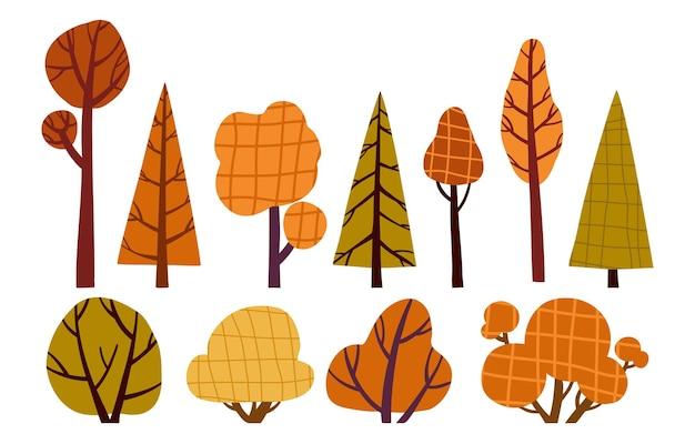 Árvores e arbustos desenhados em árvores de outono do estilo de corte de papel isoladas no fundo branco