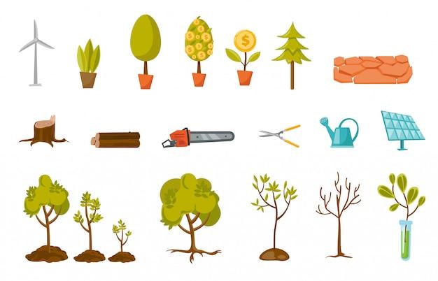 Árvores e conjunto de desenhos animados de planta