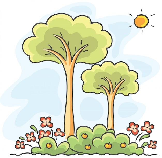 Árvores e flores de desenho