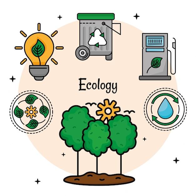 Árvores e ícones de ecologia