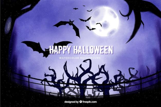 Árvores e morcegos fundo de halloween