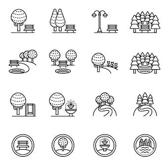 Árvores, floresta e banco. ícone do parque ajustado com fundo branco.