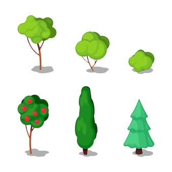 Árvores isométricas. conjunto de plantas.