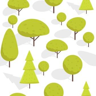 Árvores isométricas de desenho animado sem costura padrão ilustração vetorial.