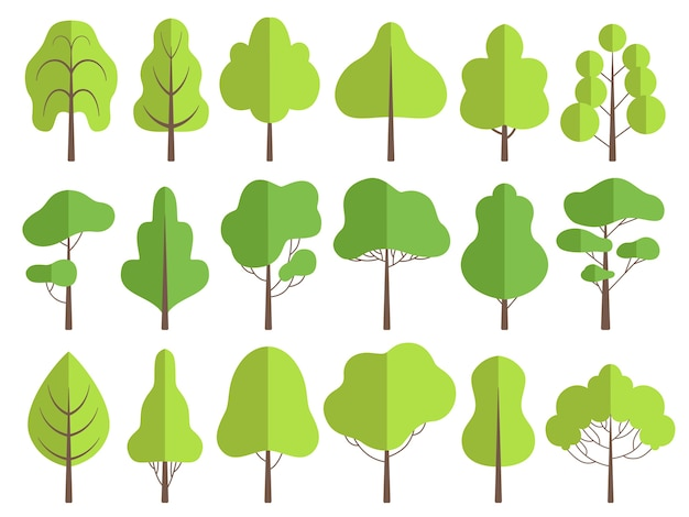 Árvores planas. coleção natureza verde de ilustrações de árvores de vetor de plantas. árvore da floresta verde natural, conjunto de plantas