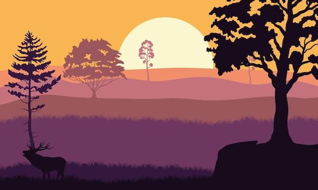 Árvores, plantas e renas na ilustração da cena do pôr do sol da floresta