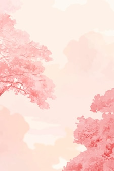 Árvores rosa e vetor de banner do céu