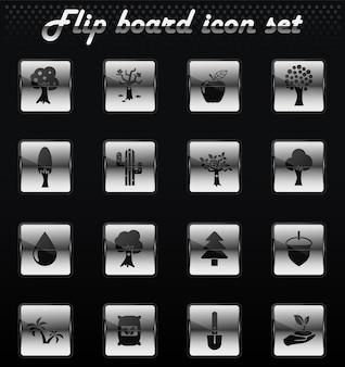 Árvores vector ícones flip mechanical para design de interface de usuário