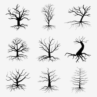 Árvores velhas e escuras com raízes. árvores mortas da floresta. ilustração de silhueta negra de árvore morta