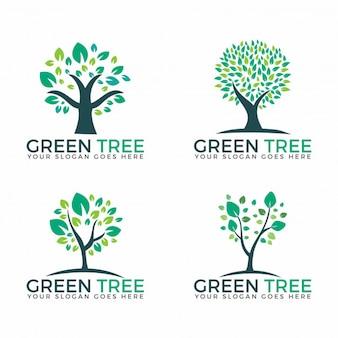Árvores verdes abstratas definem projetos de vetores de logotipos.
