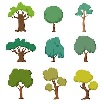 Árvores verdes dos desenhos animados