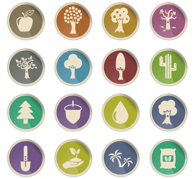 Árvores vetoriais ícones na forma de etiquetas redondas de papel