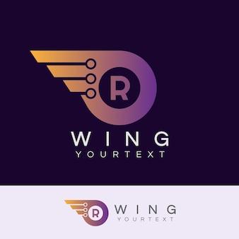 As alas do robô inicial design da letra r logo