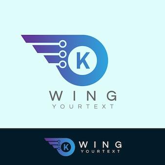 As alas do robô inicial design do logotipo da letra k