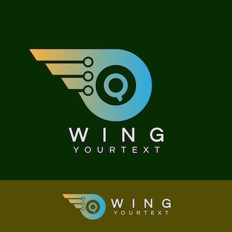 As alas do robô inicial design do logotipo da letra q