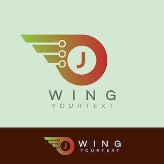 As alas do robô inicial letter j logo design
