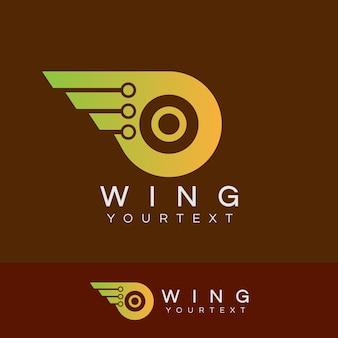 As alas do robô inicial o design do logotipo da letra o