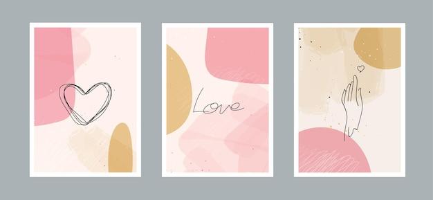 As artes abstratas amam o fundo com diferentes formas para cartão postal de decoração de parede ou capa de brochura