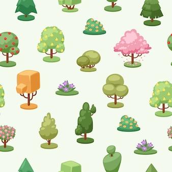 As árvores plantam o teste padrão sem emenda do elemento, ilustração. ecologia decorativa criativa, paisagem de crescimento sazonal.