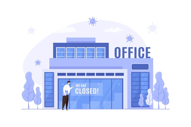 As atividades comerciais do escritório são fechadas durante a ilustração da pandemia