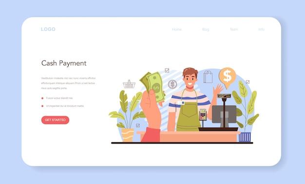 As atividades comerciais processam o pagamento do banner da web ou do moderador da página de destino